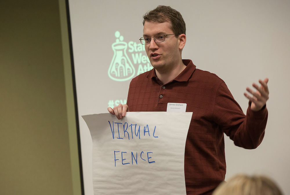 James Graham gives his pitch at Startup Weekend Athens at the Ohio University Innovation Center on March 18, 2016. Taylor came in second overall.