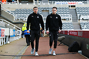 Elias Sorensen (#47) of Newcastle United (left) and Tom Allan (#50) of Newcastle United (right arrive ahead of the The FA Cup match between Newcastle United and Oxford United at St. James's Park, Newcastle, England on 25 January 2020.