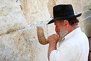 Israel, Old City of Jerusalem, Jew deep in prayer at the Wailing Wall blowing a Shofar .