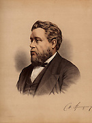 Charles Haddon Spurgeon (1834-1892) English popular Baptist preacher, born at Kelvedon, Essex. Called the Prince of Preachers, he drew audiences of over 10,000. By the time of his death, he had preached 36,000 sermons.  From 'The Modern Portrait Gallery' (London, c1880). Tinted lithograph.