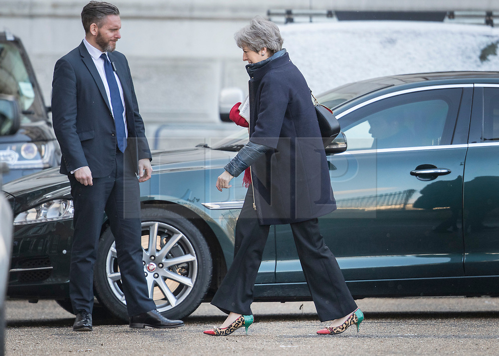 © Licensed to London News Pictures. 26/02/2018. London, UK. Prime Minister Theresa May arrives in Downing Street after a weekend spent at Chequers. Photo credit: Peter Macdiarmid/LNP