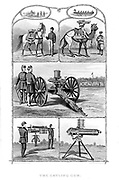 Gatling rapid fire gun (1861-1862): various models. From 'The Science Record' New York, 1862. Engraving