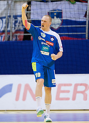 Miha Zvizej of Slovenia reacts during handball match between Iceland and Slovenia in  3rd Round of Preliminary Round of 10th EHF European Handball Championship Serbia 2012, on January 20, 2012 in Millennium Center, Vrsac, Serbia. Slovenia defeated Iceland 34-32. (Photo By Vid Ponikvar / Sportida.com)
