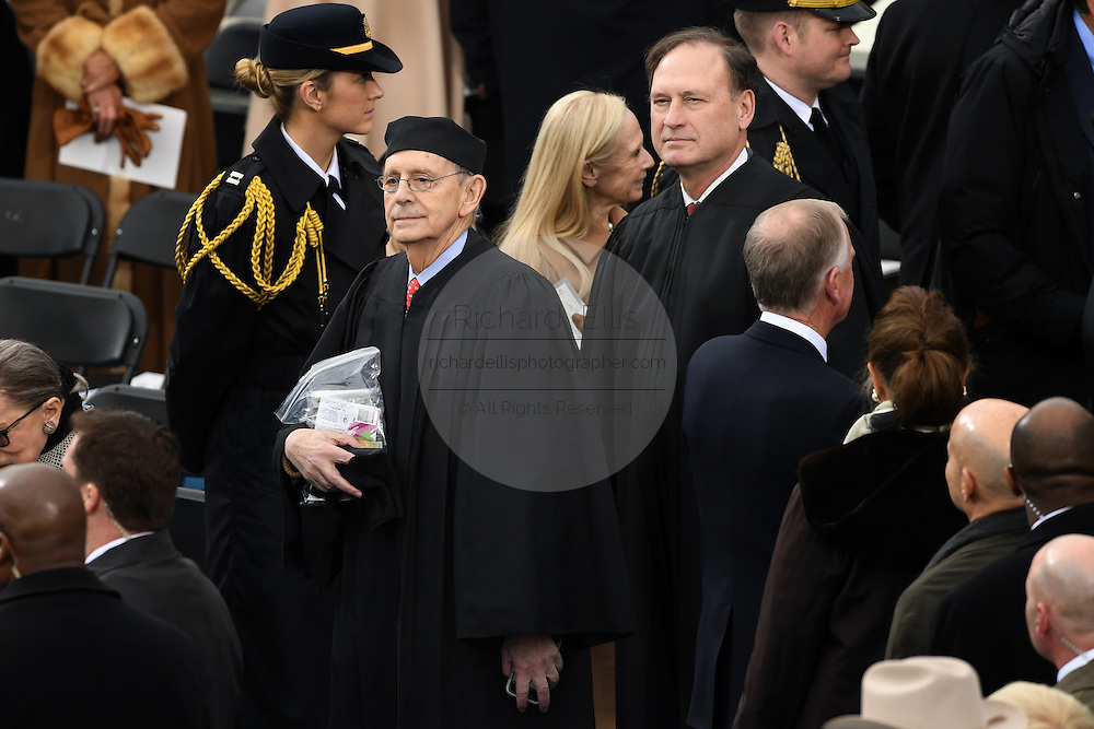 Supreme Court Justice Stephen Breyer, center, and Justice Samuel Alito arrive for the 68th President Inaugural Ceremony on Capitol Hill January 20, 2017 in Washington, DC.