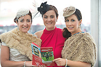 31/07/2013 Marie Burns , Joan Clarke and Ruth Farragher from Loughrea Braved the elements the third day of the Galway Races  .   Picture:Andrew Downes