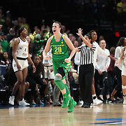 March 31, 2019; Portland, OR, USA; Oregon Ducks guard Sabrina Ionescu (20) reacts after a play against the Mississippi State Bulldogs in the Elite Eight of the NCAA Women's Tournament at Moda Center.<br /> Photo by Jaime Valdez