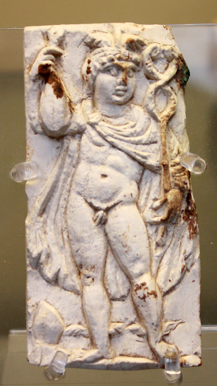 Bone plaque: the messenger-god Mercury. Roman 3rd century AD From Eleutheropolis (Beit Guvrin, Israel)