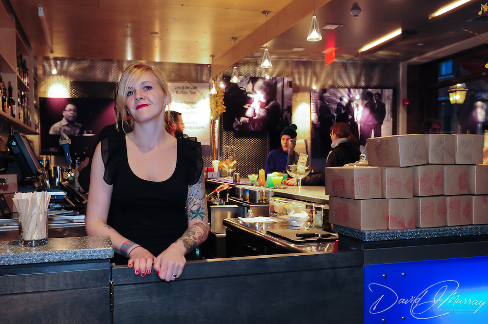The Loft's full service bar features gormet food in boxes.