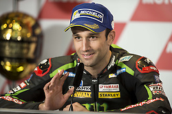 November 12, 2017 - Valencia, Valencia, Spain - 5 Johann Zarco (French) Monster Yamaha Tech 3 Yamaha during the press conference after the Gran Premio Motul de la Comunitat Valenciana, Circuit of Ricardo Tormo,Valencia, Spain. Saturday 12th of november 2017. (Credit Image: © Jose Breton/NurPhoto via ZUMA Press)