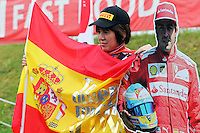 Fans and atmosphere - a Fernando Alonso (ESP) Ferrari cut out.<br /> Japanese Grand Prix, Sunday 5th October 2014. Suzuka, Japan.