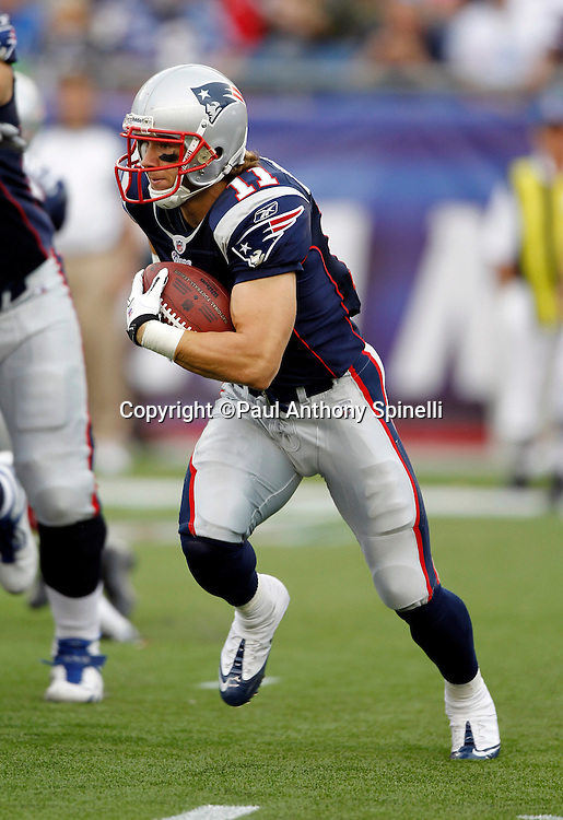 New England Patriots wide receiver Julian Edelman (11) runs with the ball during the NFL regular season week 3 football game against the Buffalo Bills on September 26, 2010 in Foxborough, Massachusetts. The Patriots won the game 38-30. (©Paul Anthony Spinelli)