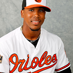 March 1, 2012; Sarasota, FL, USA; Baltimore Orioles relief pitcher Pedro Strop (47) poses for a portrait during photo day at the spring training headquarters.  Mandatory Credit: Derick E. Hingle-US PRESSWIRE