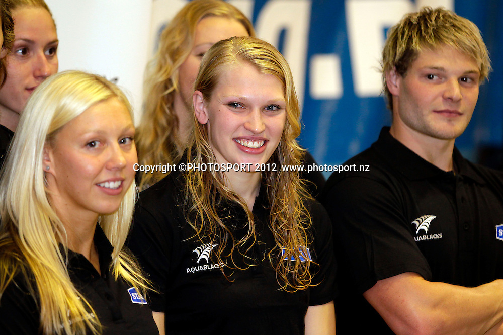 New Zealand swim team newcomer Samantha Lucie-Smith after the team announcement for the London Olympics during the New Zealand Open Swimming Championships, West Wave, Henderson, Auckland New Zealand, Friday 30th March 2012. Photo: Simon Watts / photosport.co.nz