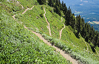 A view looking down at switchbacks on the Sauk Mountain trail in the Washington Cascades, USA.