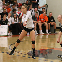 (Photograph by Bill Gerth for SVCN)  Los Gatos #10 Caroline Bond delivers a return vs Carlmont in a CCS Division 1 Semi Final Girls Volleyball Game at Los Gatos High School, Los Gatos CA on 11/9/16.  (Los Gatos defeated Carlmont 3-0, 25-21, 25-17, 25-16)
