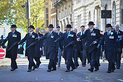 © Licensed to London News Pictures. 12/11/2017. London, UK.  War veterans parade on their way to Horse Guards parade on Remembrance Sunday where members of the Royal Family, dignatories and veterans gave tributes to war dead at The Cenotaph.  Photo credit: Stephen Chung/LNP