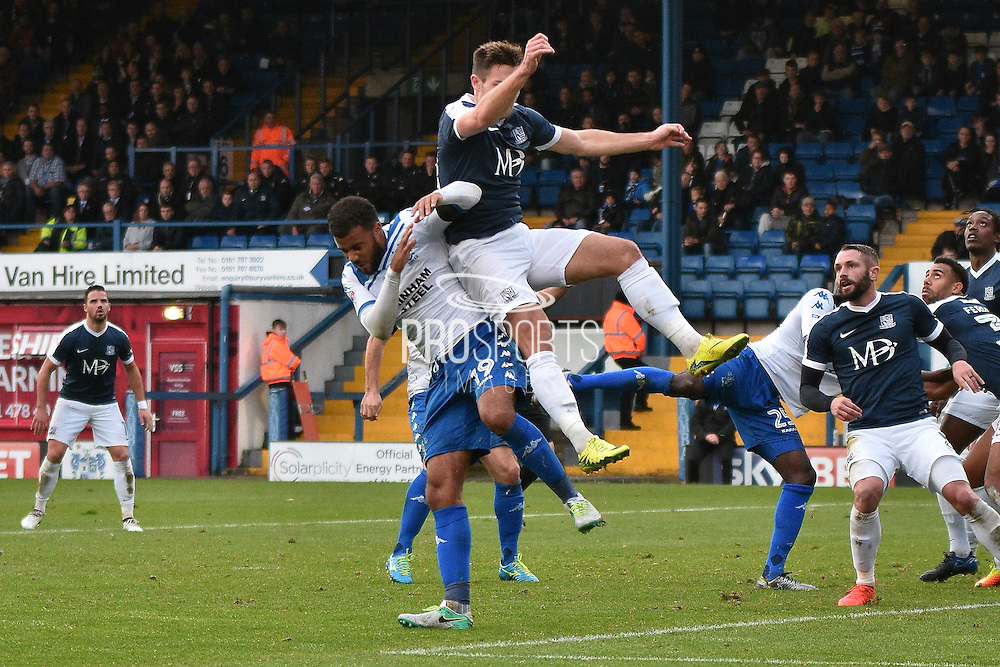 Bury Midfielder, Tom Soares (19) and Southend United Defender, Ryan Leonard (18)during the EFL Sky Bet League 1 match between Bury and Southend United at the JD Stadium, Bury, England on 12 November 2016. Photo by Mark Pollitt.