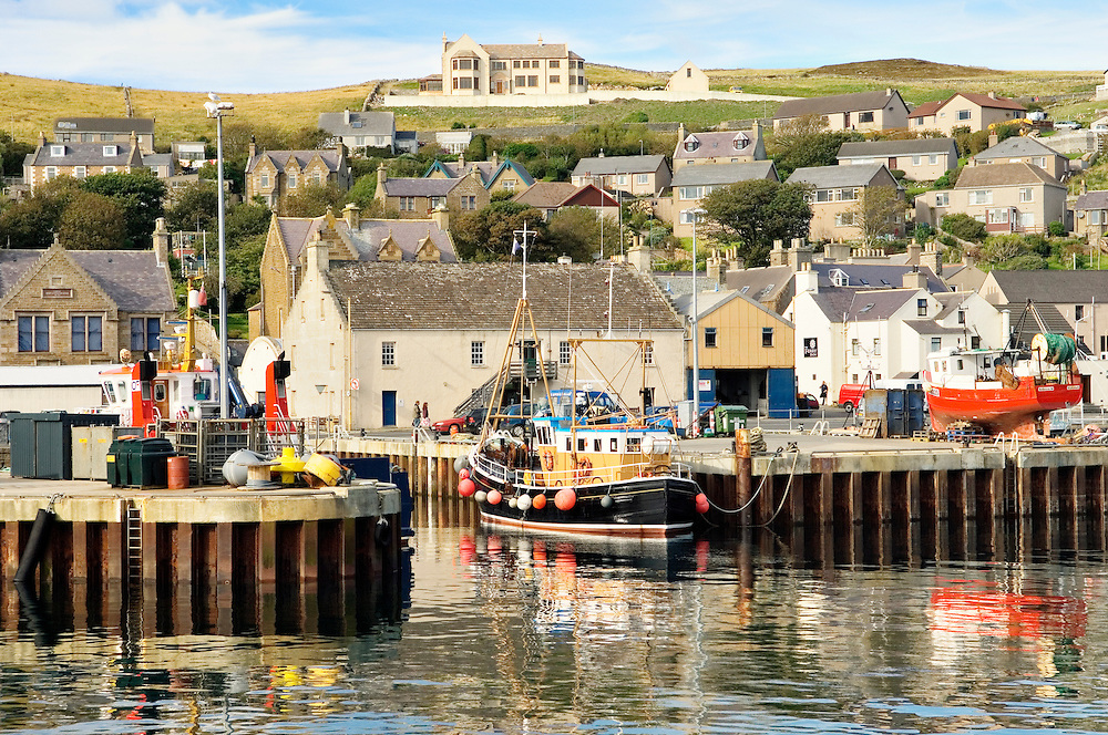The fishing harbour and old town of Stromness, Mainland, Orkney, Scotland, UK. Summer