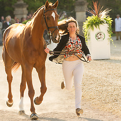 Pippa Funnell (GBR) leads Redesigned  for the vet's inspection during the trot up at the 2013 Mitsubishi Motors Badminton Horse Trials. Thursday 02  May  2013.  Badminton, Gloucs, UK..Photo by: Mark Chappell / i-Images