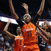 UNCASVILLE, CONNECTICUT- JUNE 3:   Jonquel Jones #35 of the Connecticut Sun in action during the Atlanta Dream Vs Connecticut Sun, WNBA regular season game at Mohegan Sun Arena on June 3, 2016 in Uncasville, Connecticut. (Photo by Tim Clayton/Corbis via Getty Images)