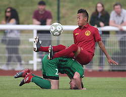 May 31, 2018 - London, United Kingdom - Puma Lhundup of Tibet and Malanya of Abkhazia .during Conifa Paddy Power World Football Cup 2018  Group B match between  Abkhazia  against Tibet at Queen Elizabeth II Stadium (Enfield Town FC), London, on 31 May 2018  (Credit Image: © Kieran Galvin/NurPhoto via ZUMA Press)