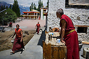Resident monks go about their daily chores such as gardening and laundry at the Sumur Gompa, founded 160 years ago, in Sumur, Nubra Valley, Ladakh on 5th June 2009.  Photo by Suzanne Lee