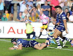 Bristol Rugby's Ryan Edwards scores a try - Photo mandatory by-line: Joe Meredith/JMP - Tel: Mobile: 07966 386802 06/10/2013 - SPORT - FOOTBALL - RUGBY UNION - Memorial Stadium - Bristol - Bristol Rugby V Bedford Blues - The Championship