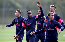 Arsenal's Danny Welbeck (second left) during the training session at London Colney, Hertfordshire.
