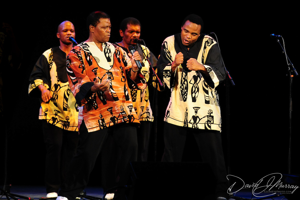 Ladysmith Black Mambazo leader Joseph Shabalala (L) and Thulani Shabalala performing at The Music Hall, Portsmouth, NH