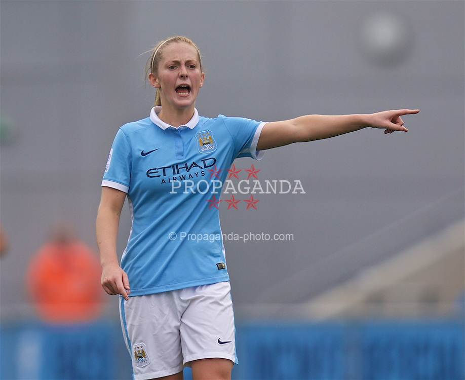 MANCHESTER, ENGLAND - Sunday, August 30, 2015: Manchester City's Keira Walsh during the League Cup Group 2 match against Liverpool at the Academy Stadium. (Pic by Paul Currie/Propaganda)