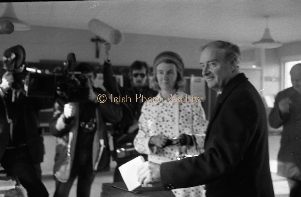 Liam Cosgrave Votes In General Election (E47).1973..28.02.1973..02.28.1973..28th February 1973..After sixteen consecutive years of Fianna Fail Government the Irish people went to the polls today to elect a new government. Mr Liam Cosgrave hoped that a coalition with Labour would oust the current office holders...Image shows Mr Cosgrave placing his vote in the ballot box.