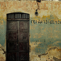 Central America, Guatemala, Antigua. A dilapidated doorway and building in Antigua, Guatemala.