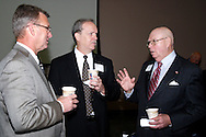 (from left) Greene County Commission candidate Tom Koogler, Howard Poston of the Greene County Board of Commissioners and Woody Stroud of Chateau Woodreau during the Greene County Regional Economic Development Forum at Cedarville University's Stevens Student Center in Cedarville, Ohio, Friday, November 18, 2011.
