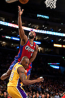 15 January 2010: Guard Baron Davis of the Los Angeles Clippers lays the ball up over Kobe Bryant of the Los Angeles Lakers during the first half of the Lakers 126-86 victory over the Clippers at the STAPLES Center in Los Angeles, CA.