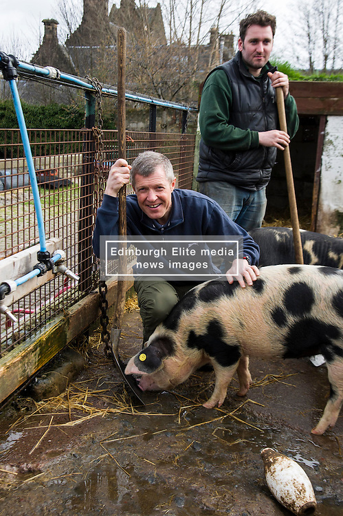 Pictured: Willie Rennie helped volunteer manager Callum MIll in mucking out the pen shared by Berkshire and Gloucestershire Old Spots boars.<br /> <br /> Scottish Liberal Democrat leader Willie Rennie called for a boost to vocational training opportunities when he met volunteers, Leah Muirhead and Graham Mathieson, at Gorgie City Farm in Edinburgh. After touring the farm, which provides volunteering and training opportunities for at-risk young people and adults with additional support needs, Mr Rennie set out Lib Dem plans to increase opportunities for industry-recognised vocational qualifications.  <br /> Ger Harley   EEm 8 April 2016