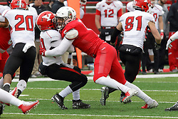 NORMAL, IL - November 17: Zeke Vanderburgh tackles Jack Coates during a college football game between the ISU (Illinois State University) Redbirds and the Youngstown State Penguins on November 17 2018 at Hancock Stadium in Normal, IL. (Photo by Alan Look)