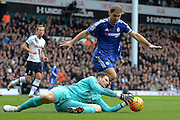 Chelsea goalkeeper Asmir Begovic claims the ball during the Barclays Premier League match between Tottenham Hotspur and Chelsea at White Hart Lane, London, England on 29 November 2015. Photo by Alan Franklin.