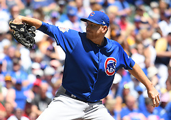 June 13, 2018 - Milwaukee, WI, U.S. - MILWAUKEE, WI - JUNE 13: Chicago Cubs Pitcher Mike Montgomery (38) delivers a pitch during a MLB game between the Milwaukee Brewers and Chicago Cubs on June 13, 2018 at Miller Park in Milwaukee, WI. The Brewers defeated the Cubs 1-0.(Photo by Nick Wosika/Icon Sportswire) (Credit Image: © Nick Wosika/Icon SMI via ZUMA Press)