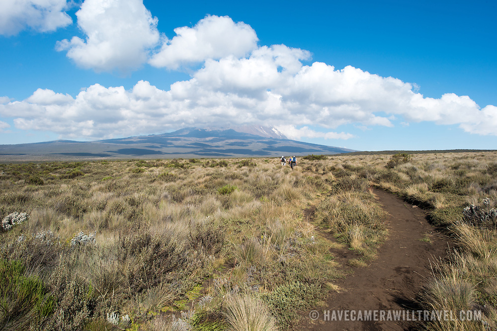 A small group of hikers on the trail to Shira 1 Camp on Mt. Kilimanjaro, with the peak far in the distance.