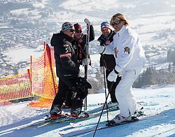 26.01.2013, Streif, Kitzbuehel, AUT, FIS Weltcup Ski Alpin, Abfahrt, Herren, Abfahrt im Bild Mathias Berthold (OeSV Herren Cheftrainer), Rainer Gstrein (OeSV Trainer), Hansi Hinterseer (Saenger) // Mathias Berthold (OeSV mens head coach), Rainer Gstrein, (OeSV Coach), Hansi Hinterseer (Singer) during mens Downhill of the FIS Ski Alpine World Cup at the Streif course, Kitzbuehel, Austria on 2013/01/26. EXPA Pictures © 2013, PhotoCredit: EXPA/ Johann Groder