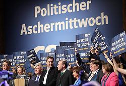 06.03.2019, Dreiländerhalle, Passau, GER, Politischer Aschermittwoch der CSU, im Bild Färber, Söder und Weber // during the Political Ash Wednesday of the CSU Party at the Dreiländerhalle in Passau, Germany on 2019/03/06. EXPA Pictures © 2019, PhotoCredit: EXPA/ SM<br /> <br /> *****ATTENTION - OUT of GER*****