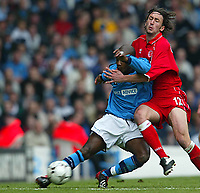 Photo Aidan Ellis.<br />Manchester City v Middlesboro (FA Barclaycard Premiership) 12/04/2003.<br />City's David Sommeil and Boro's Johnathon Greening