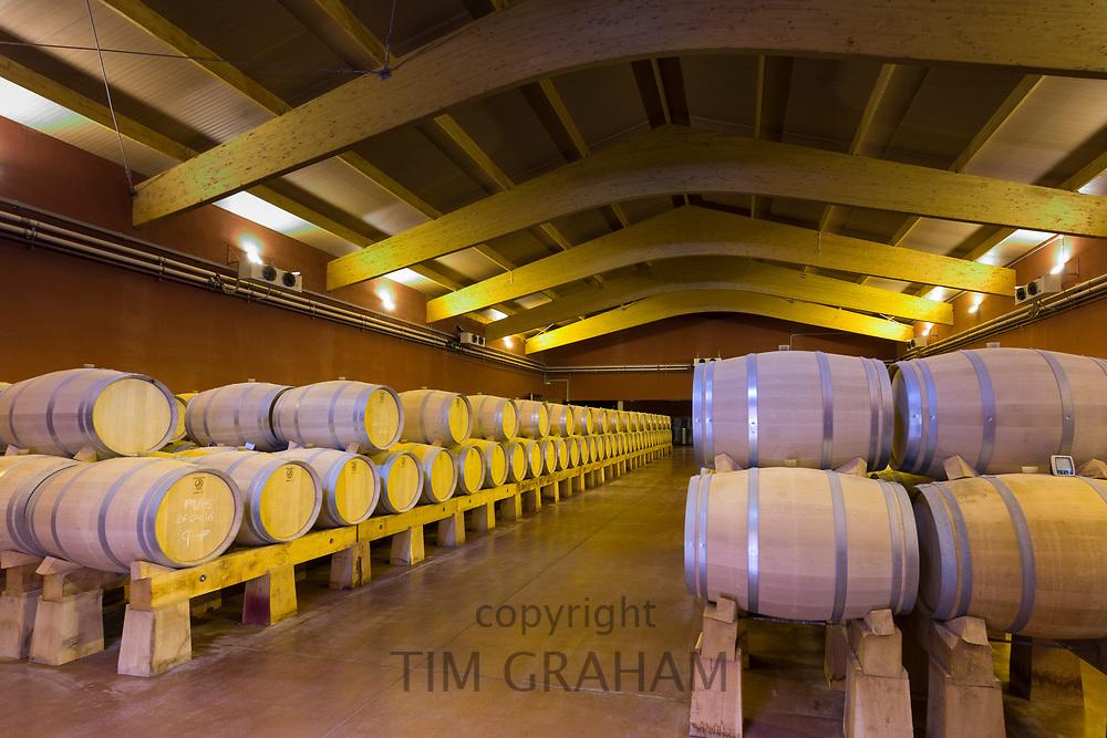 Oak casks of red Villacreces wine in storage, Ribera del Duero wine production by River Duero, Navarro, Spain