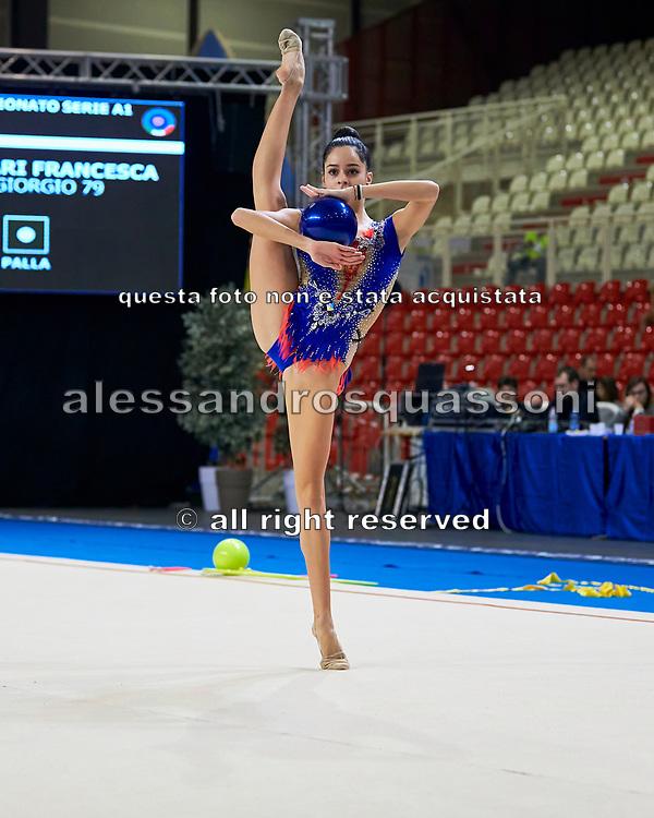 Francesca Ferrari  from San Giorgio Desio team during the Italian Rhythmic Gymnastics Championship in Padova, 25 November 2017.
