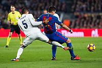 Real Madrid's Raphael Varane, FC Barcelona's Luis Suarez during spanish La Liga match between Futbol Club Barcelona and Real Madrid  at Camp Nou Stadium in Barcelona , Spain. Decembe r03, 2016. (ALTERPHOTOS/Rodrigo Jimenez)
