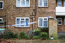 © Licensed to London News Pictures. 10/12/2019. London, UK. Police crime scene tape surrounds Shelley House, Boyton Road in Hornsey, after a man was fatally stabbed on Monday 9 December 2019.  Police were called to a residential address in Shelley House in north London following reports of a fight and a man having been stabbed. A man, aged in his 40s, was found suffering from a stab injury. He was pronounced dead at the scene. Two men aged 48 and 54 - have been arrested on suspicion of murder and are in police custody. Photo credit: Dinendra Haria/LNP