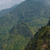 The green and narrow valley of Kinnaur, with the mighty Sutlej river running at the bottom.