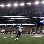 FOXBOROUGH, MASSACHUSETTS - JANUARY 14: Tight end C.J. Fiedorowicz #87 of the Houston Texans scores a touchdown during the Houston Texans Vs New England Patriots Divisional round game during the NFL play-offs on January 14th, 2017 at Gillette Stadium, Foxborough, Massachusetts. (Photo by Tim Clayton/Corbis via Getty Images)