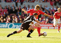 Photo: Leigh Quinnell.<br /> Nottingham Forest v Bristol City. Coca Cola League 1. 21/10/2006. Forests Kris Commons battles with Bristol Citys Scott Brown.