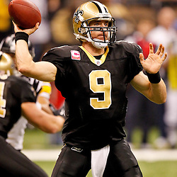 Oct 31, 2010; New Orleans, LA, USA; New Orleans Saints quarterback Drew Brees (9) throws a pass during a game against the Pittsburgh Steelers at the Louisiana Superdome. The Saints defeated the Steelers 20-10.  Mandatory Credit: Derick E. Hingle